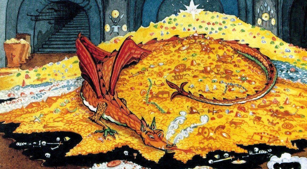 header image dragon with gold